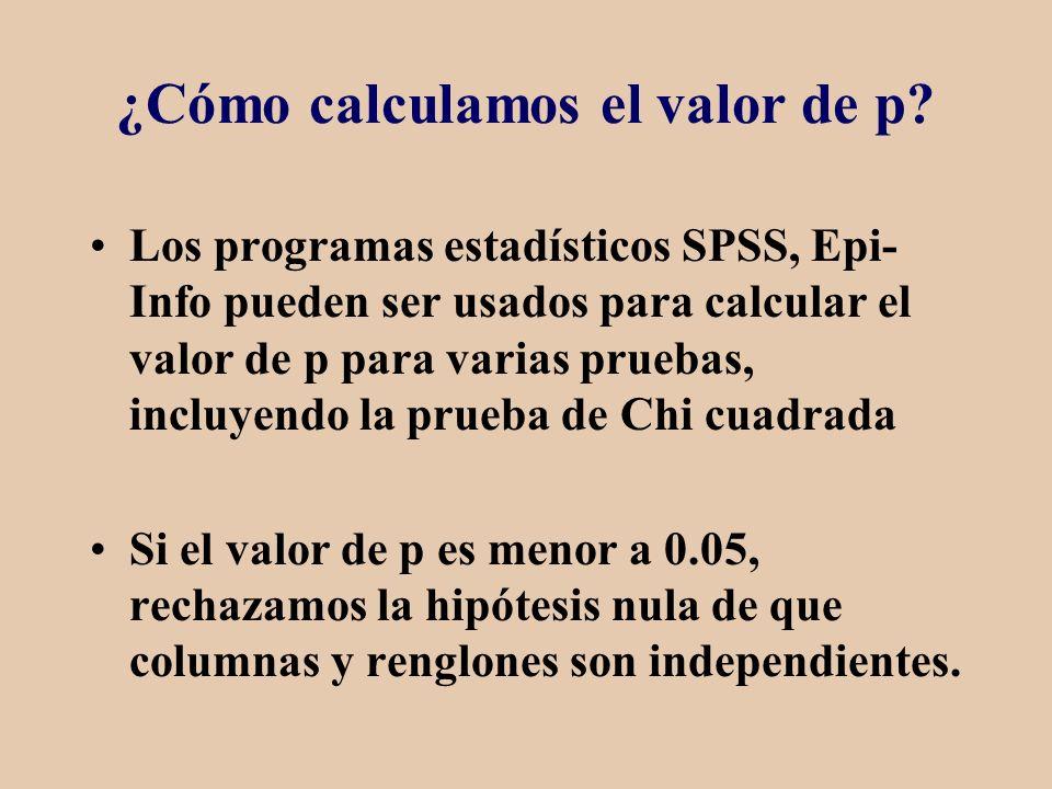 ¿Cómo calculamos el valor de p? Los programas estadísticos SPSS, Epi- Info pueden ser usados para calcular el valor de p para varias pruebas, incluyen