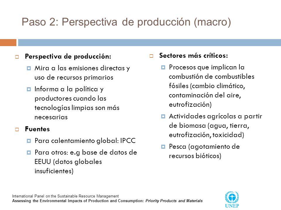 Paso 2: Perspectiva de producción (macro) Perspectiva de producción: Mira a las emisiones directas y uso de recursos primarios Informa a la política y