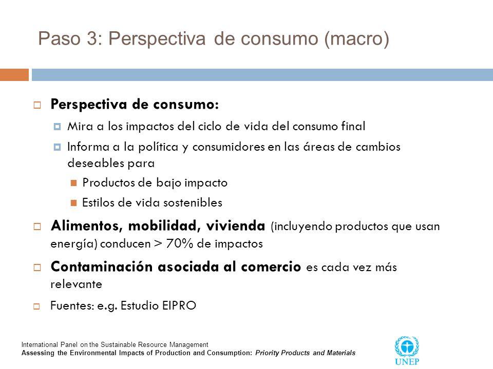 Paso 3: Perspectiva de consumo (macro) Perspectiva de consumo: Mira a los impactos del ciclo de vida del consumo final Informa a la política y consumi