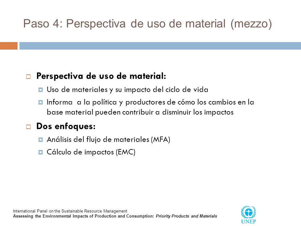 Paso 4: Perspectiva de uso de material (mezzo) Perspectiva de uso de material: Uso de materiales y su impacto del ciclo de vida Informa a la política