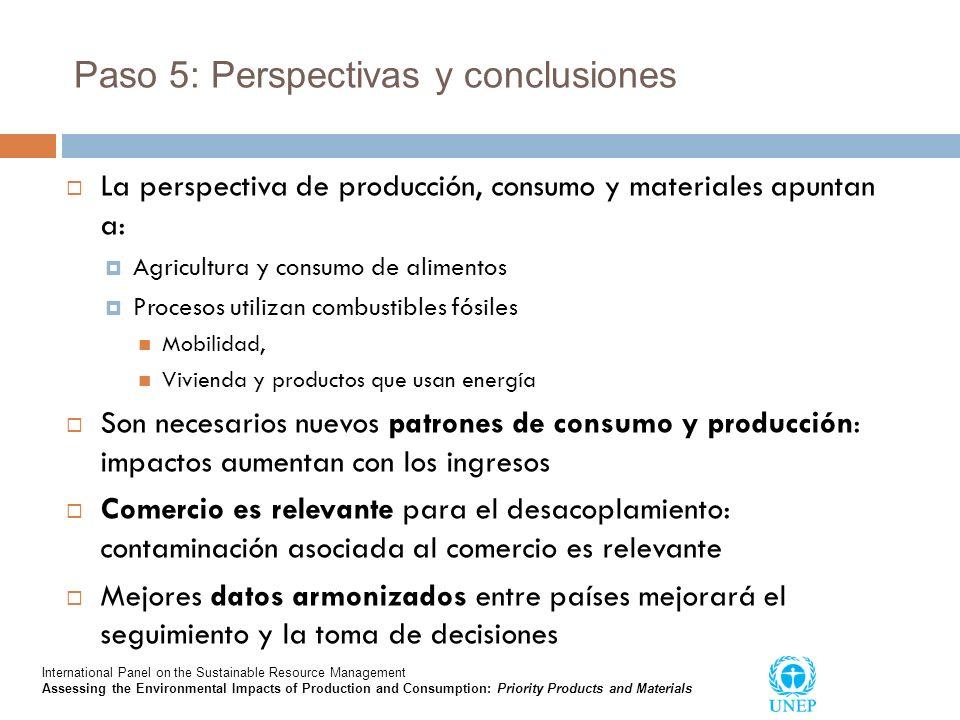 Paso 5: Perspectivas y conclusiones La perspectiva de producción, consumo y materiales apuntan a: Agricultura y consumo de alimentos Procesos utilizan