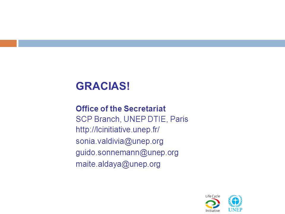 GRACIAS! Office of the Secretariat SCP Branch, UNEP DTIE, Paris http://lcinitiative.unep.fr/ sonia.valdivia@unep.org guido.sonnemann@unep.org maite.al