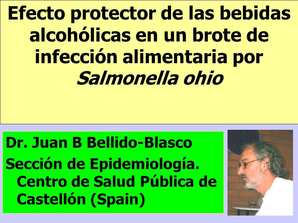 Efecto protector de las bebidas alcohólicas en un brote de infección alimentaria por Salmonella ohio Dr. Juan B Bellido-Blasco Sección de Epidemiologí