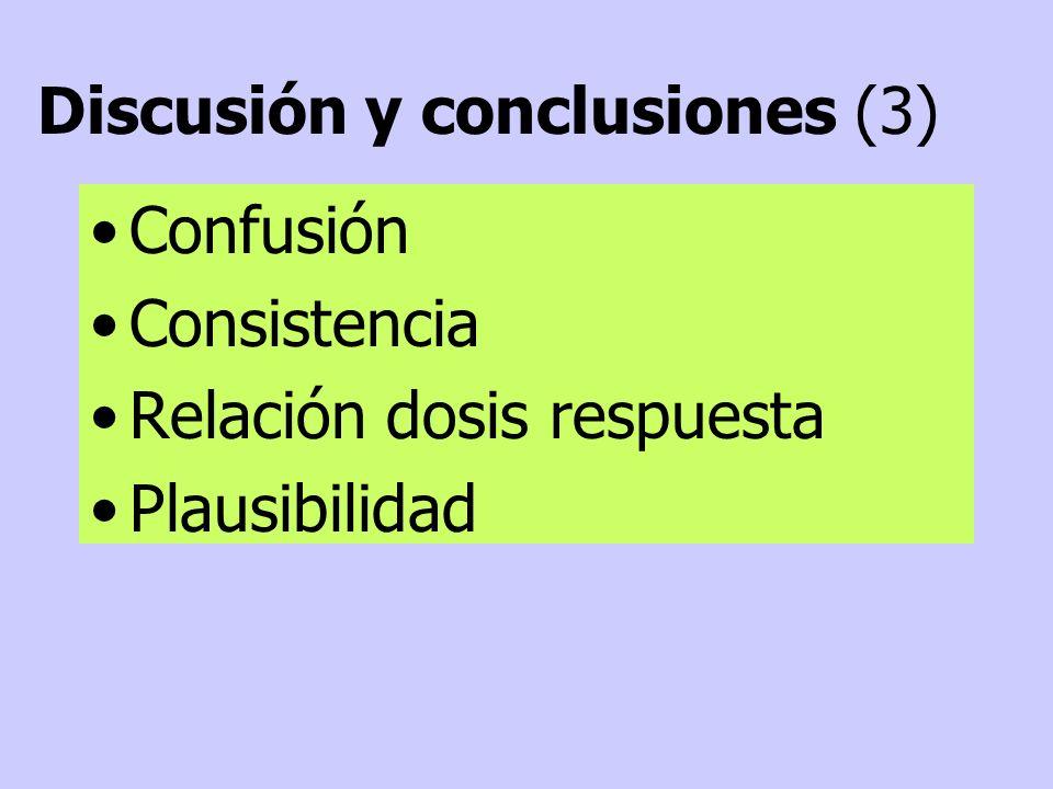 Confusión Consistencia Relación dosis respuesta Plausibilidad Discusión y conclusiones (3)
