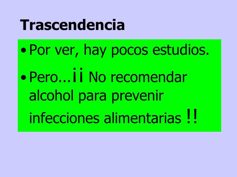 Por ver, hay pocos estudios. Pero... ¡¡ No recomendar alcohol para prevenir infecciones alimentarias !! Trascendencia
