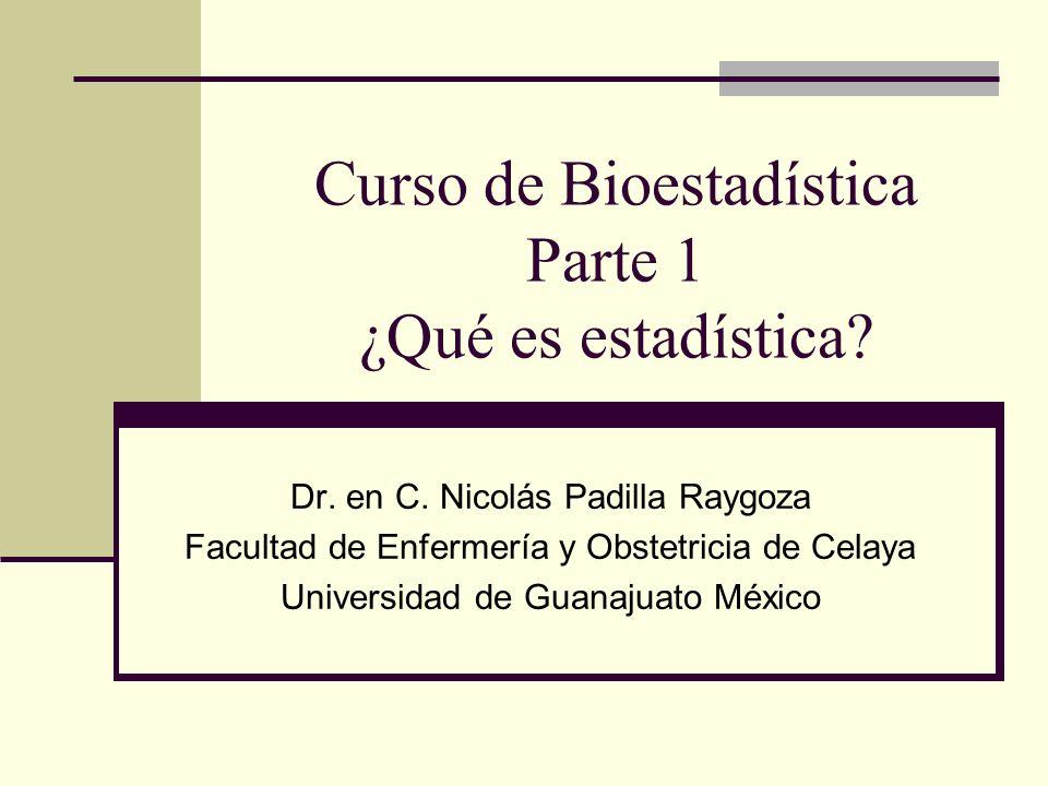 Curso de Bioestadística Parte 1 ¿Qué es estadística? Dr. en C. Nicolás Padilla Raygoza Facultad de Enfermería y Obstetricia de Celaya Universidad de G