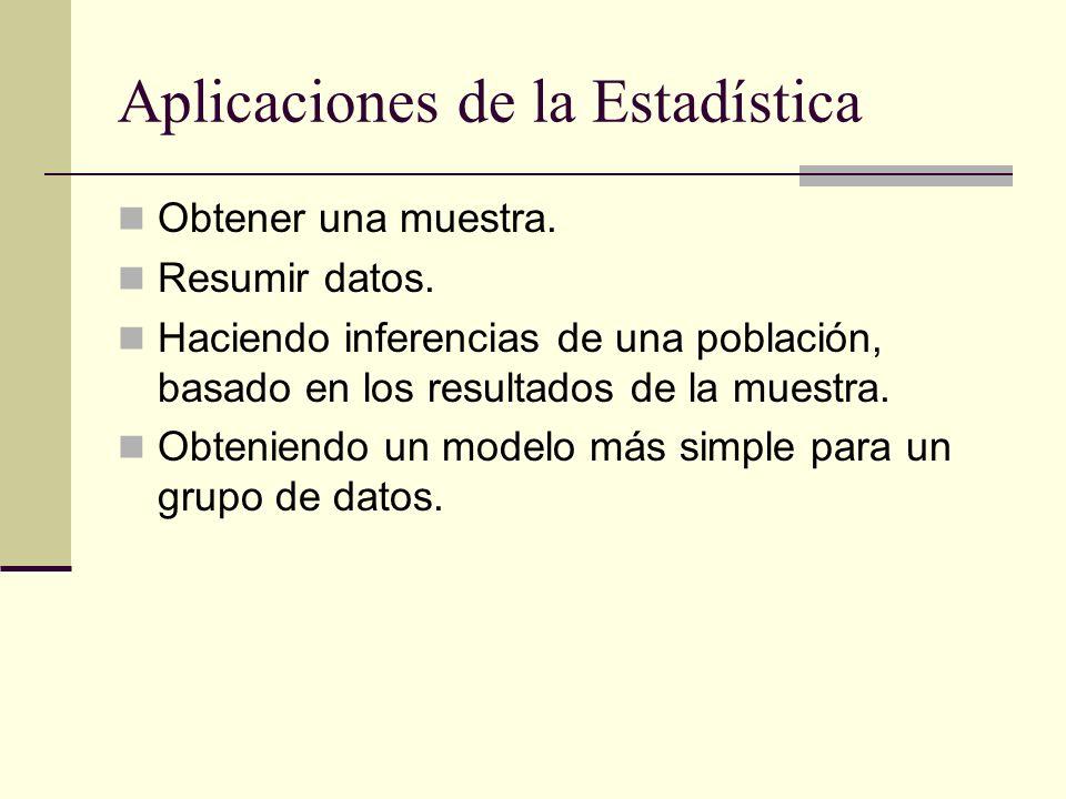 Aplicaciones de la Estadística Obtener una muestra. Resumir datos. Haciendo inferencias de una población, basado en los resultados de la muestra. Obte