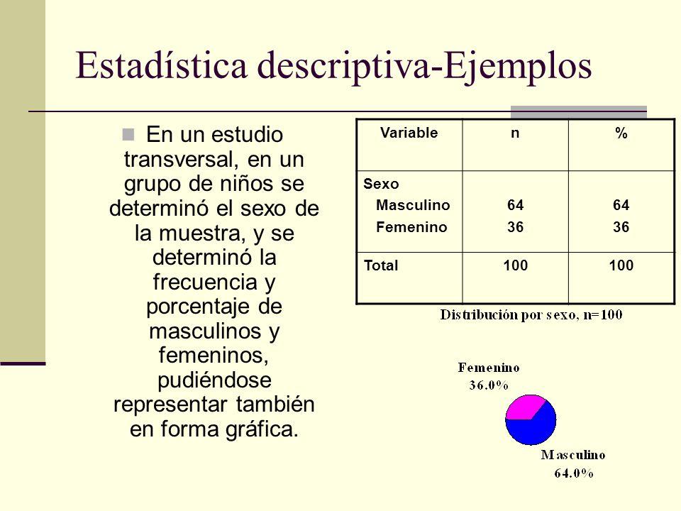Estadística descriptiva-Ejemplos En un estudio transversal, en un grupo de niños se determinó el sexo de la muestra, y se determinó la frecuencia y po
