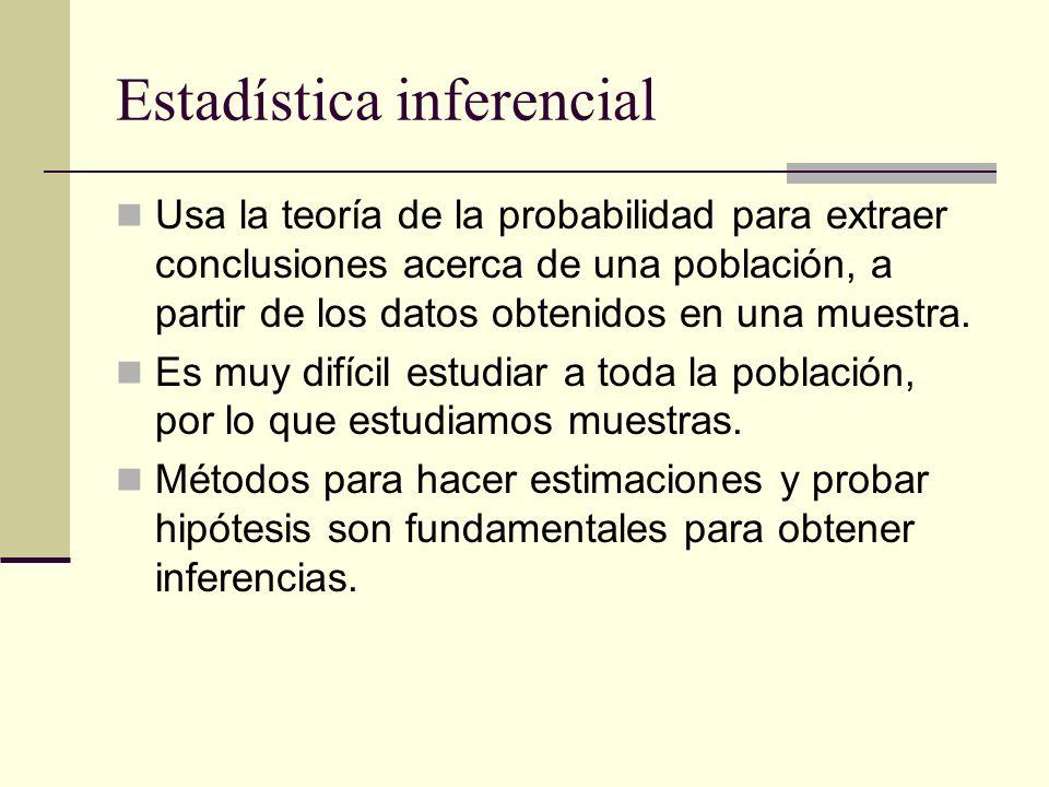Estadística inferencial Usa la teoría de la probabilidad para extraer conclusiones acerca de una población, a partir de los datos obtenidos en una mue