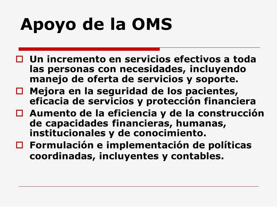 Apoyo de la OMS Un incremento en servicios efectivos a toda las personas con necesidades, incluyendo manejo de oferta de servicios y soporte.