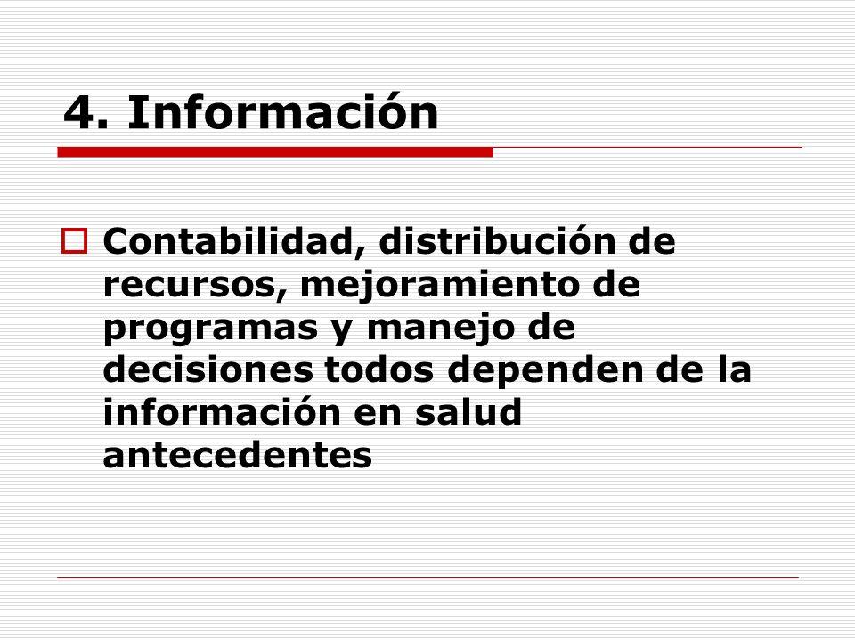 4. Información Contabilidad, distribución de recursos, mejoramiento de programas y manejo de decisiones todos dependen de la información en salud ante