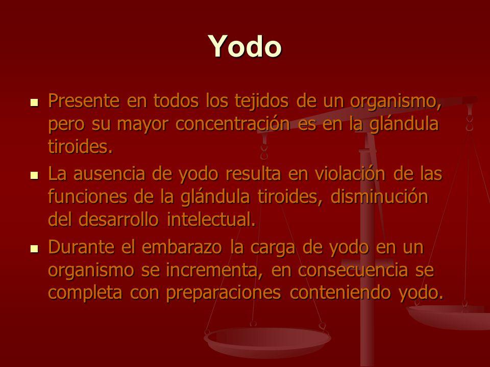 Yodo Presente en todos los tejidos de un organismo, pero su mayor concentración es en la glándula tiroides. Presente en todos los tejidos de un organi
