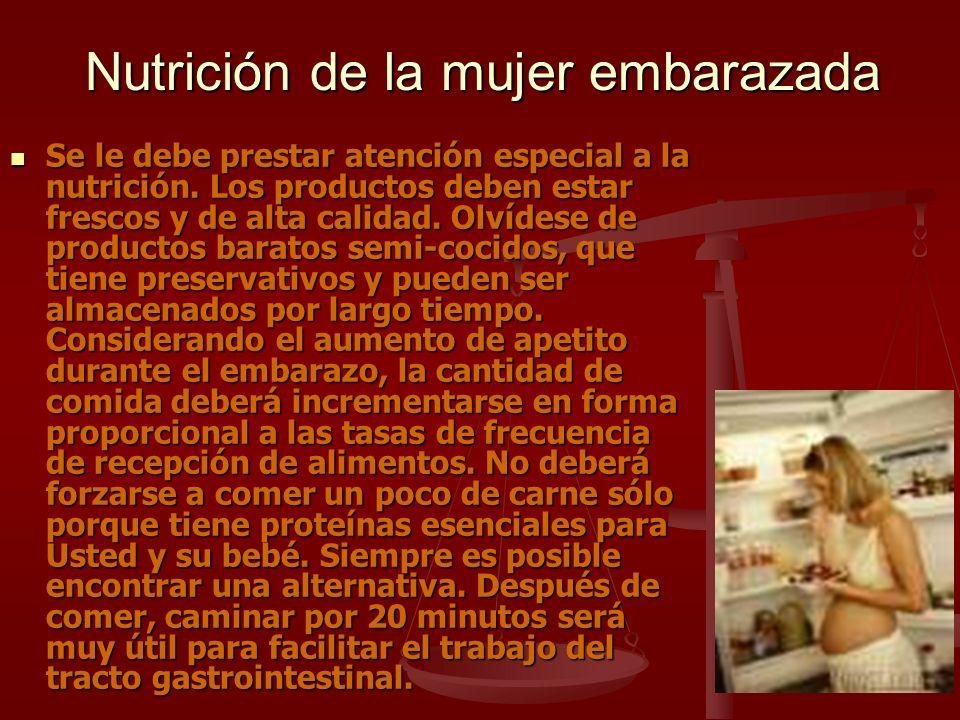 Nutrición de la mujer embarazada Se le debe prestar atención especial a la nutrición. Los productos deben estar frescos y de alta calidad. Olvídese de