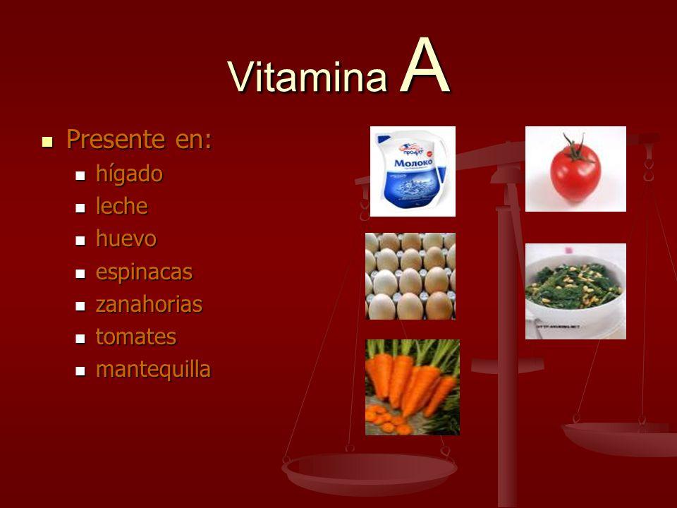 Vitamina A Presente en: Presente en: hígado hígado leche leche huevo huevo espinacas espinacas zanahorias zanahorias tomates tomates mantequilla mante