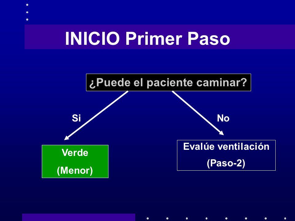 INICIO Primer Paso ¿Puede el paciente caminar? SiNo Verde (Menor) Evalúe ventilación (Paso-2)