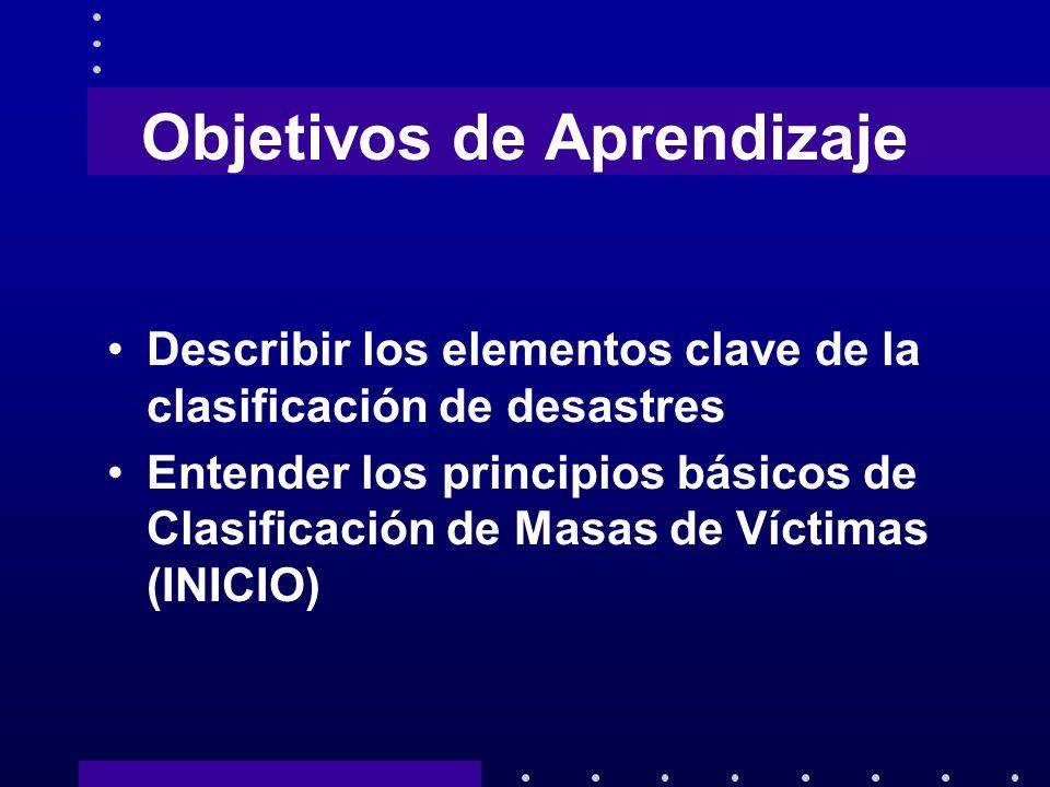 Objetivos a Alcanzar Al fin del curso el estudiante será capaz de: Aplicar los principios de clasificación de desastres Entender los conceptos de clasificación inversa
