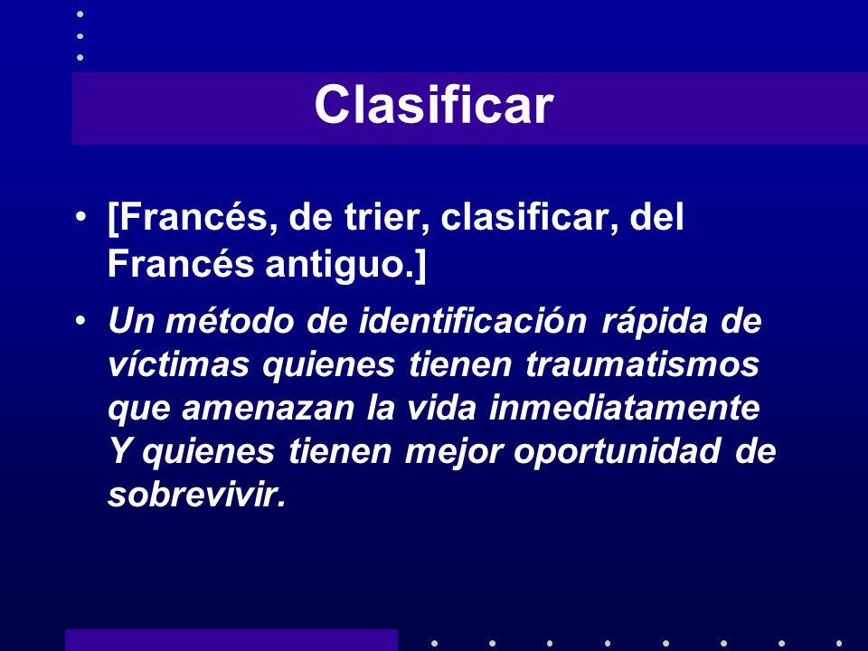 Clasificar [Francés, de trier, clasificar, del Francés antiguo.] Un método de identificación rápida de víctimas quienes tienen traumatismos que amenaz
