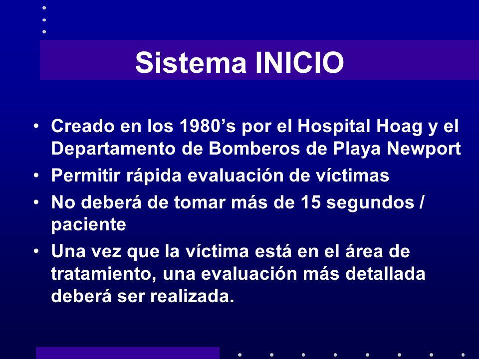 Sistema INICIO Creado en los 1980s por el Hospital Hoag y el Departamento de Bomberos de Playa Newport Permitir rápida evaluación de víctimas No deber