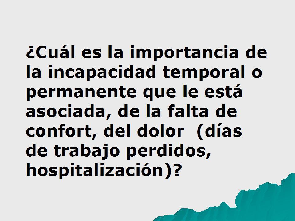 ¿Cuál es la importancia de la incapacidad temporal o permanente que le está asociada, de la falta de confort, del dolor (días de trabajo perdidos, hos