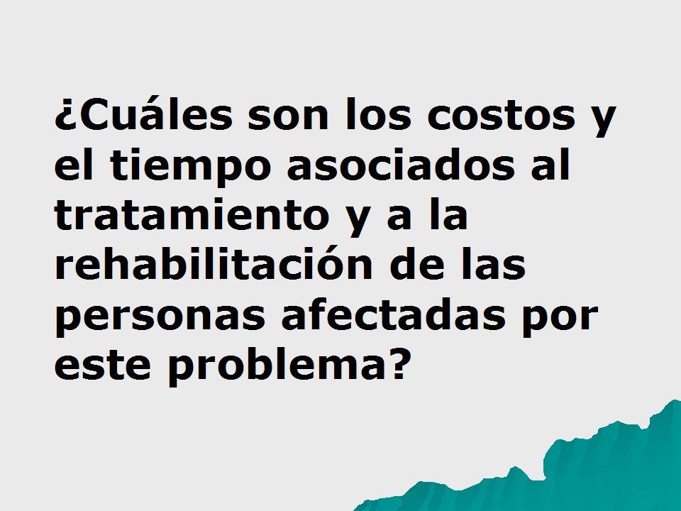 ¿Cuáles son los costos y el tiempo asociados al tratamiento y a la rehabilitación de las personas afectadas por este problema?