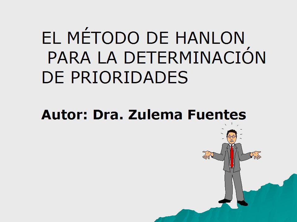 EL MÉTODO DE HANLON PARA LA DETERMINACIÓN DE PRIORIDADES Autor: Dra. Zulema Fuentes