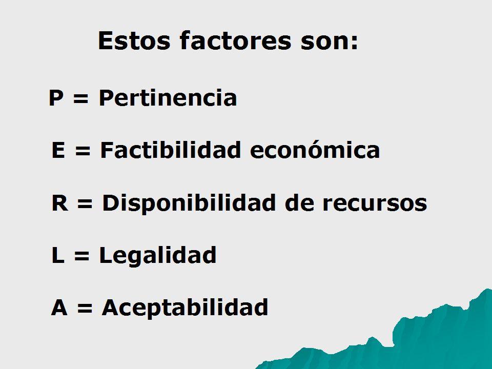 Estos factores son: P = Pertinencia E = Factibilidad económica R = Disponibilidad de recursos L = Legalidad A = Aceptabilidad