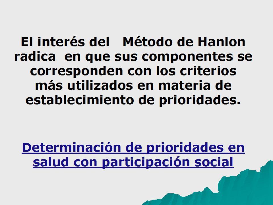 El interés del Método de Hanlon radica en que sus componentes se corresponden con los criterios más utilizados en materia de establecimiento de prioridades.