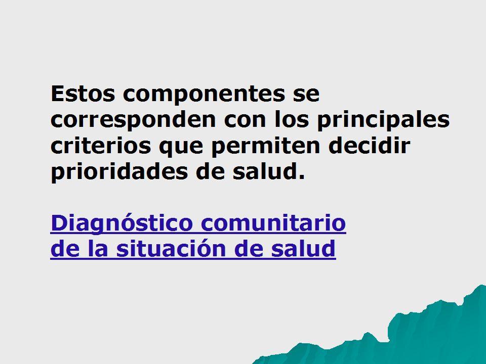 Estos componentes se corresponden con los principales criterios que permiten decidir prioridades de salud. Diagnóstico comunitario de la situación de