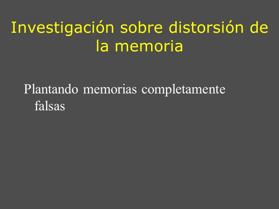 Investigación sobre distorsión de la memoria Plantando memorias completamente falsas