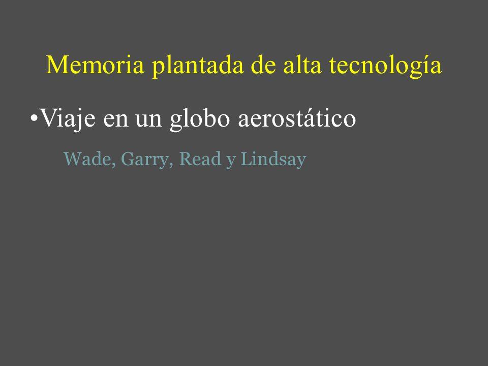 Memoria plantada de alta tecnología Viaje en un globo aerostático Wade, Garry, Read y Lindsay