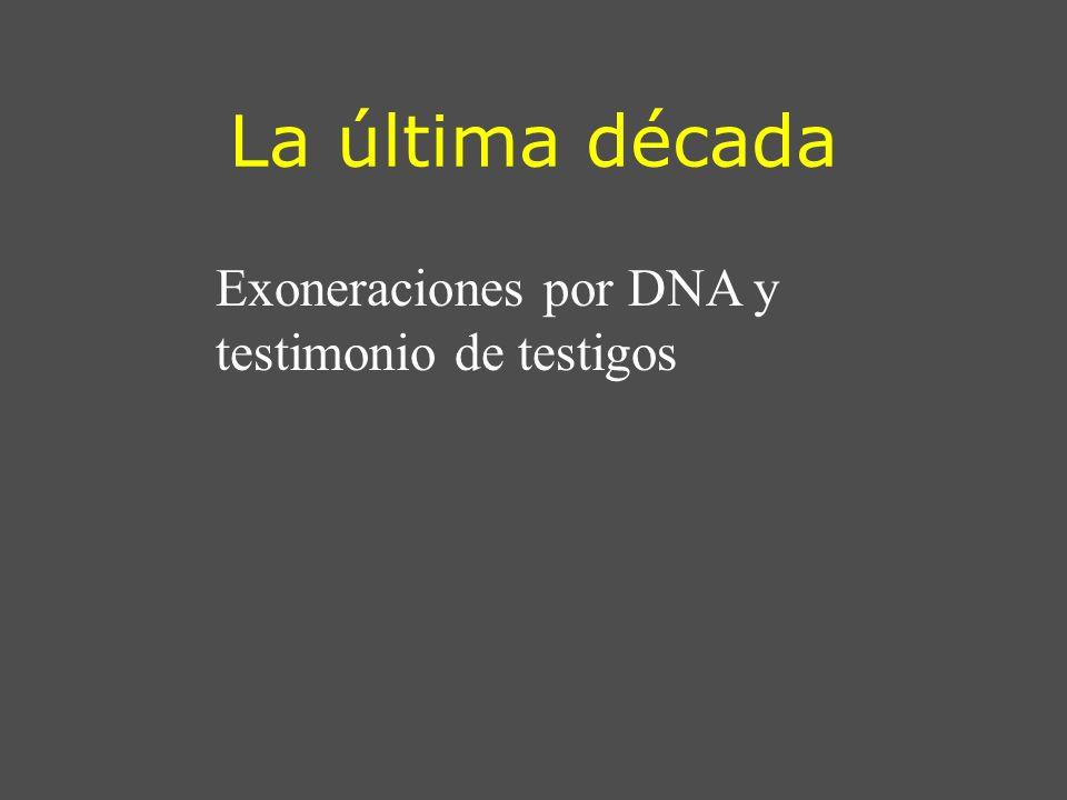La última década Exoneraciones por DNA y testimonio de testigos