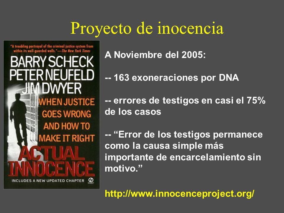Proyecto de inocencia A Noviembre del 2005: -- 163 exoneraciones por DNA -- errores de testigos en casi el 75% de los casos -- Error de los testigos p