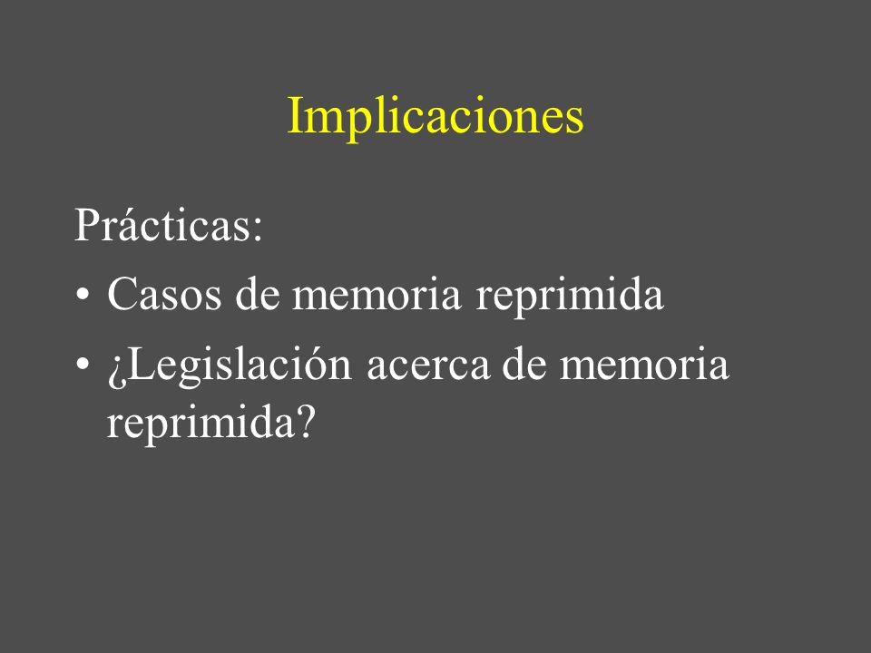 Implicaciones Prácticas: Casos de memoria reprimida ¿Legislación acerca de memoria reprimida?