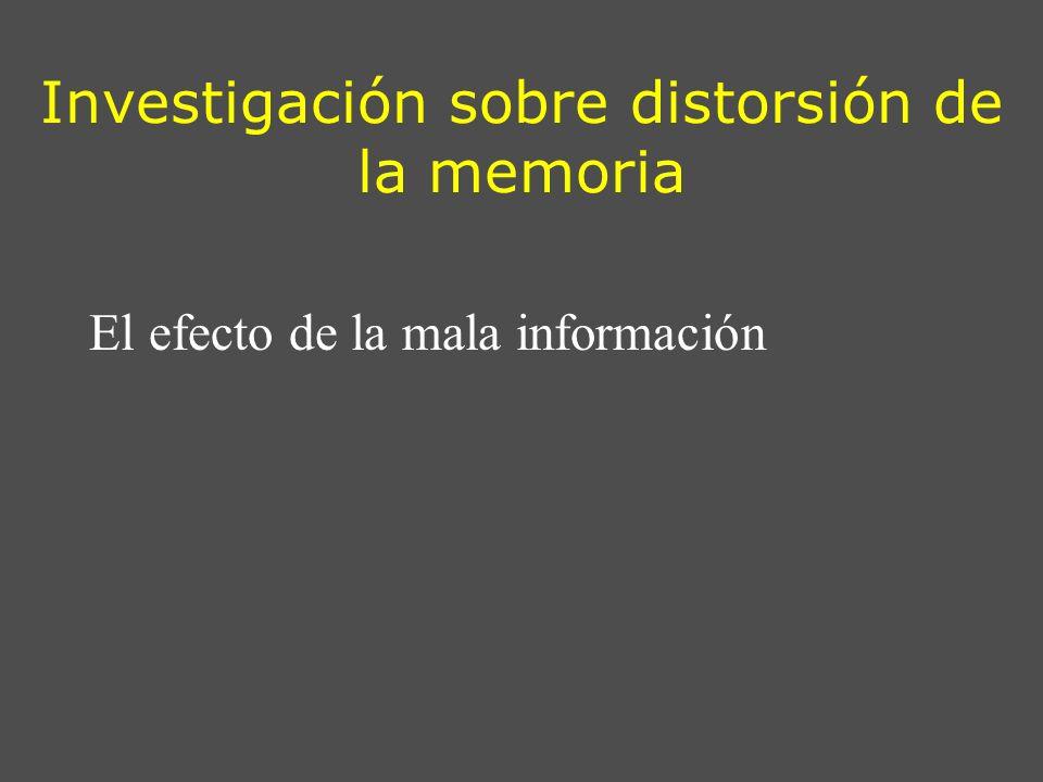 Investigación sobre distorsión de la memoria El efecto de la mala información