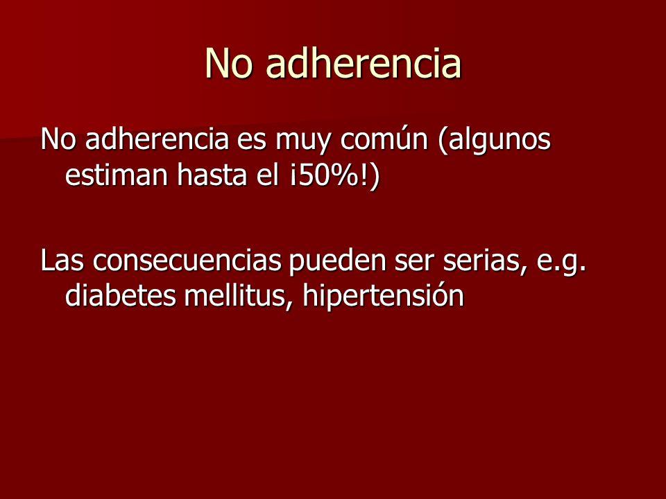 Factores afectando la no adherencias Personalidad del paciente, e.g.