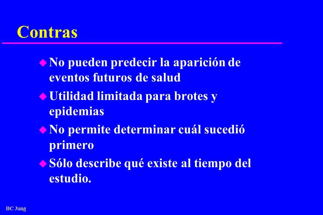BC Jung Contras u No pueden predecir la aparición de eventos futuros de salud u Utilidad limitada para brotes y epidemias u No permite determinar cuál