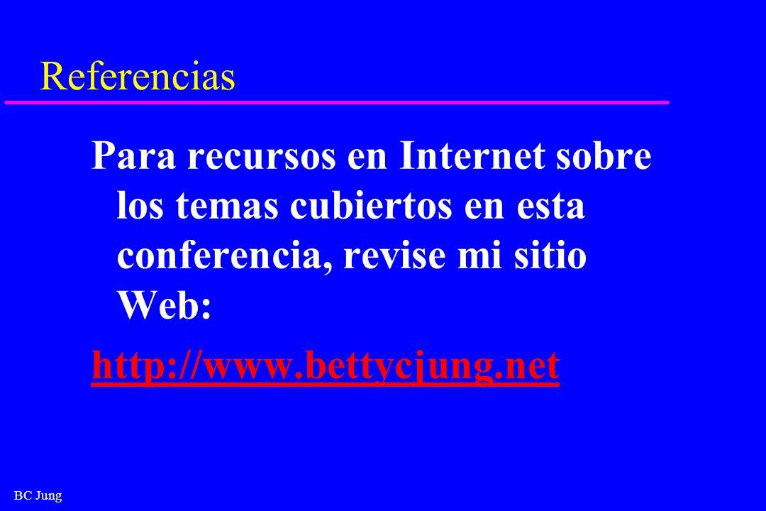 BC Jung Referencias Para recursos en Internet sobre los temas cubiertos en esta conferencia, revise mi sitio Web: http://www.bettycjung.net