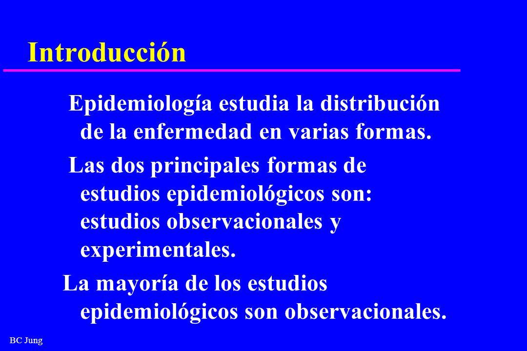 BC Jung Introducción Epidemiología estudia la distribución de la enfermedad en varias formas. Las dos principales formas de estudios epidemiológicos s