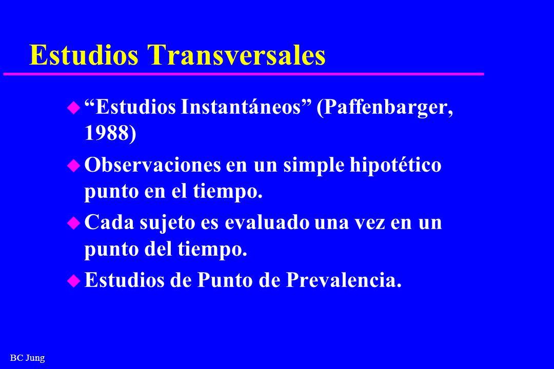 BC Jung Estudios Transversales u Estudios Instantáneos (Paffenbarger, 1988) u Observaciones en un simple hipotético punto en el tiempo. u Cada sujeto