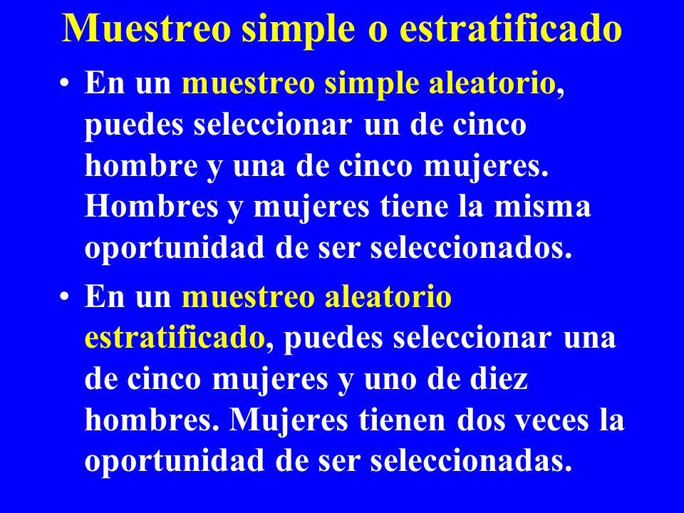 Muestreo simple o estratificado En un muestreo simple aleatorio, puedes seleccionar un de cinco hombre y una de cinco mujeres. Hombres y mujeres tiene
