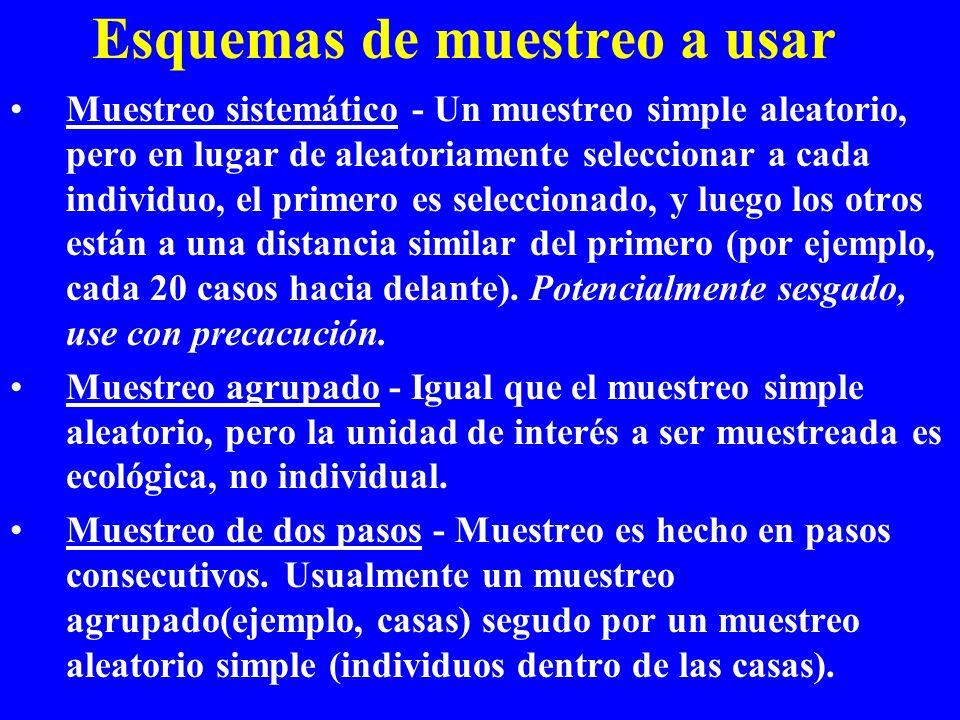 Esquemas de muestreo a usar Muestreo sistemático - Un muestreo simple aleatorio, pero en lugar de aleatoriamente seleccionar a cada individuo, el prim