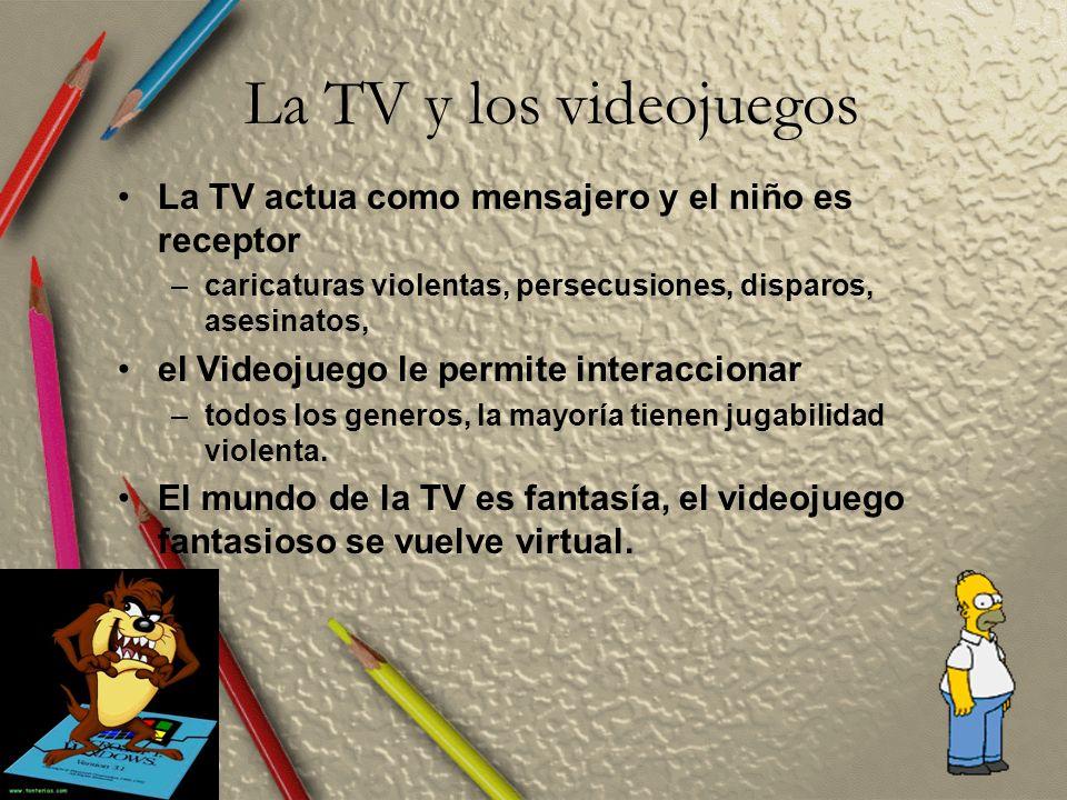 La TV y los videojuegos La TV actua como mensajero y el niño es receptor –caricaturas violentas, persecusiones, disparos, asesinatos, el Videojuego le permite interaccionar –todos los generos, la mayoría tienen jugabilidad violenta.