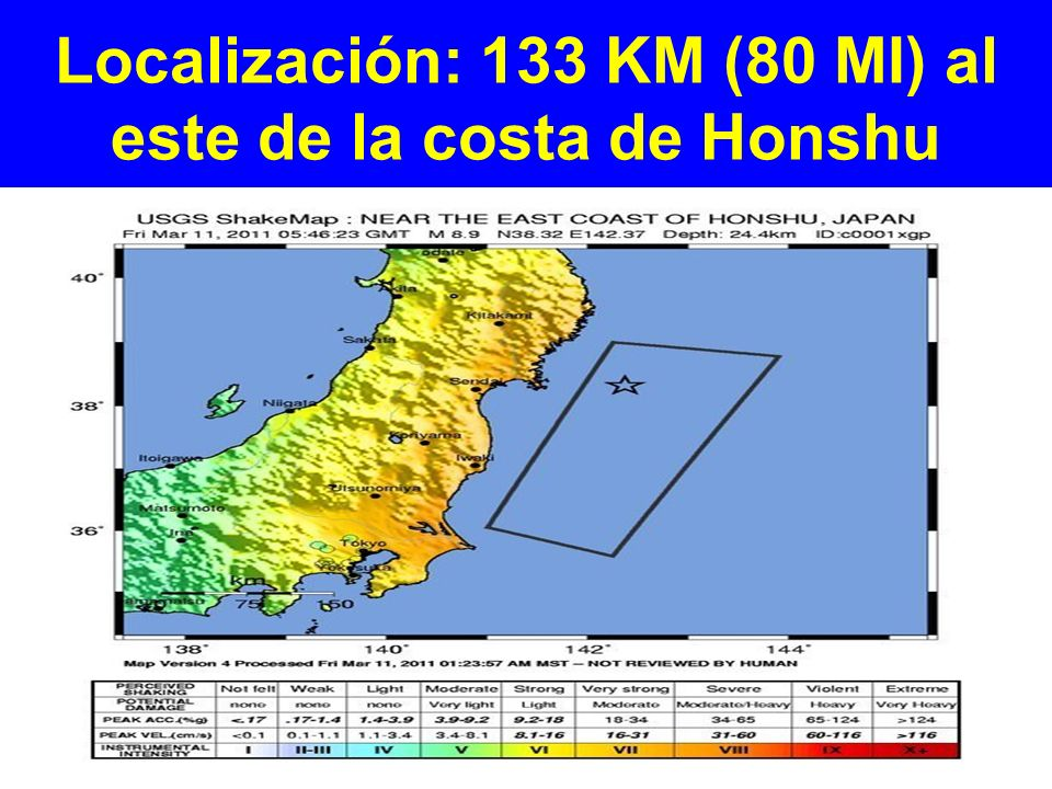 Localización: 133 KM (80 MI) al este de la costa de Honshu