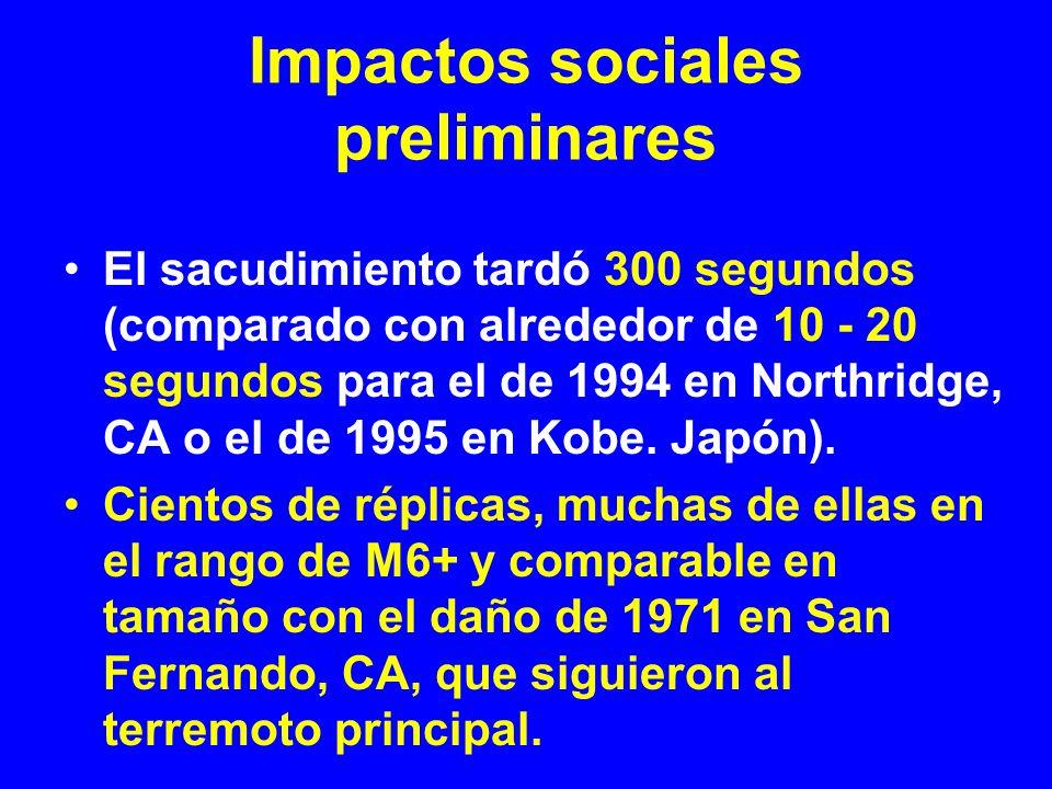 Impactos sociales preliminares El sacudimiento tardó 300 segundos (comparado con alrededor de 10 - 20 segundos para el de 1994 en Northridge, CA o el