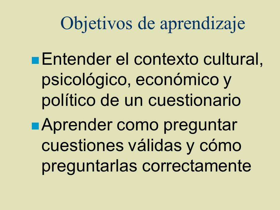 Objetivos de aprendizaje n Entender el contexto cultural, psicológico, económico y político de un cuestionario n Aprender como preguntar cuestiones vá
