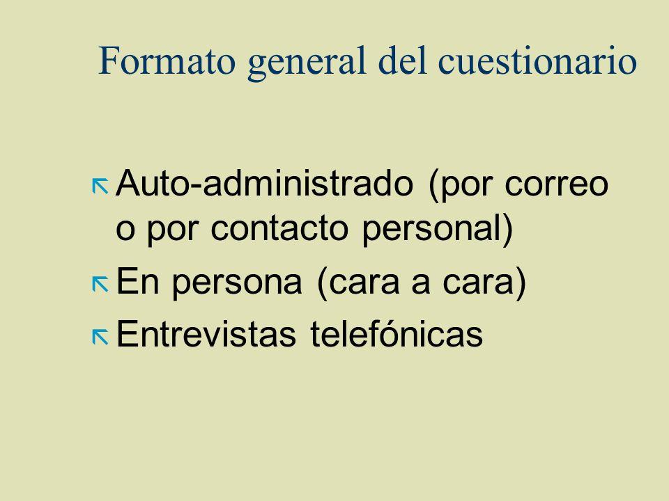 Formato general del cuestionario ã Auto-administrado (por correo o por contacto personal) ã En persona (cara a cara) ã Entrevistas telefónicas