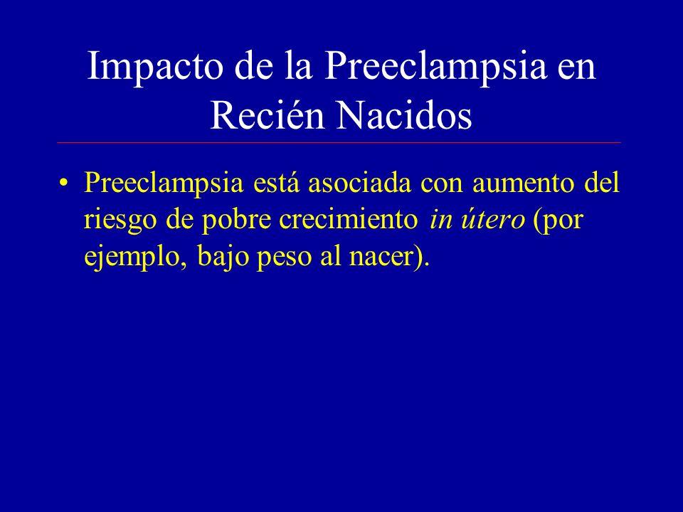 Impacto de la Preeclampsia en Recién Nacidos Preeclampsia está asociada con aumento del riesgo de pobre crecimiento in útero (por ejemplo, bajo peso al nacer).