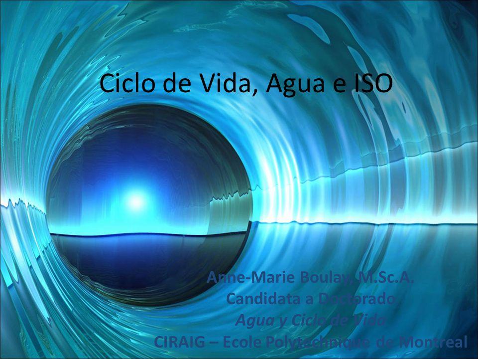 Ciclo de Vida, Agua e ISO Anne-Marie Boulay, M.Sc.A. Candidata a Doctorado Agua y Ciclo de Vida CIRAIG – Ecole Polytechnique de Montreal