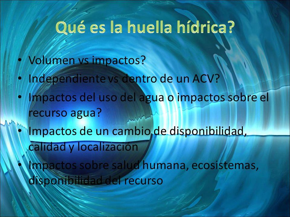 Volumen vs impactos? Independiente vs dentro de un ACV? Impactos del uso del agua o impactos sobre el recurso agua? Impactos de un cambio de disponibi