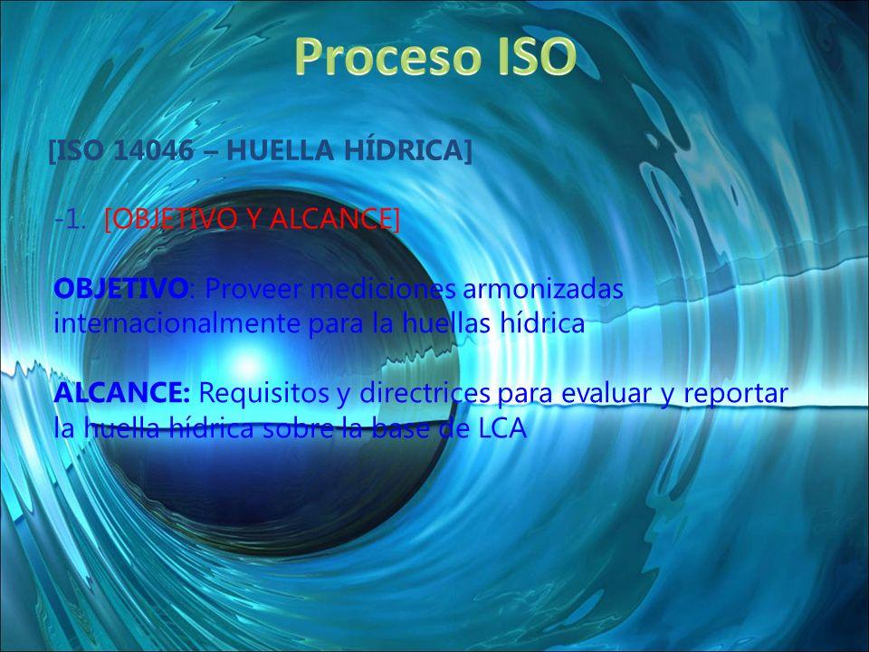 [ISO 14046 – HUELLA HÍDRICA] -1. [OBJETIVO Y ALCANCE] OBJETIVO: Proveer mediciones armonizadas internacionalmente para la huellas hídrica ALCANCE: Req